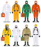 Chemical industry concept. Detailed illustration different workers in differences protective suits on white background. Set of colorful different people in Royalty Free Stock Photos