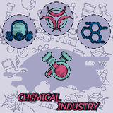 Chemical industry flat concept icon Royalty Free Stock Images