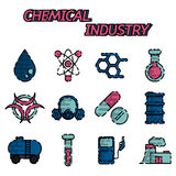 Chemical industry flat icon set Royalty Free Stock Photos