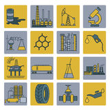 Chemical industry icon set. Colour version design. Vector illustration Stock Photography