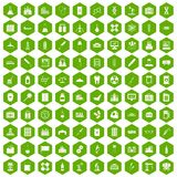 100 chemical industry icons hexagon green. 100 chemical industry icons set in green hexagon isolated vector illustration Stock Images