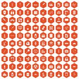 100 chemical industry icons hexagon orange. 100 chemical industry icons set in orange hexagon isolated vector illustration Royalty Free Stock Photos