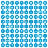 100 chemical industry icons set blue. 100 chemical industry icons set in blue hexagon isolated vector illustration Royalty Free Stock Images