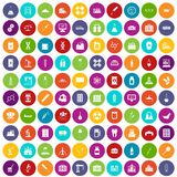 100 chemical industry icons set color. 100 chemical industry icons set in different colors circle isolated vector illustration Stock Photography