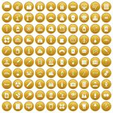 100 chemical industry icons set gold. 100 chemical industry icons set in gold circle isolated on white vectr illustration Stock Photo