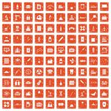 100 chemical industry icons set grunge orange. 100 chemical industry icons set in grunge style orange color isolated on white background vector illustration Royalty Free Stock Image