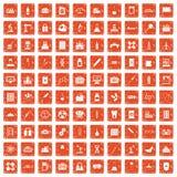 100 chemical industry icons set grunge orange. 100 chemical industry icons set in grunge style orange color isolated on white background vector illustration stock illustration