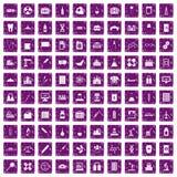 100 chemical industry icons set grunge purple. 100 chemical industry icons set in grunge style purple color isolated on white background vector illustration Royalty Free Illustration