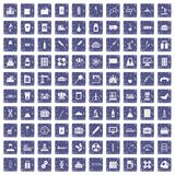 100 chemical industry icons set grunge sapphire. 100 chemical industry icons set in grunge style sapphire color isolated on white background vector illustration stock illustration