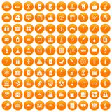 100 chemical industry icons set orange. 100 chemical industry icons set in orange circle isolated vector illustration Stock Images