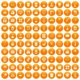100 chemical industry icons set orange. 100 chemical industry icons set in orange circle isolated vector illustration vector illustration
