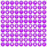 100 chemical industry icons set purple. 100 chemical industry icons set in purple circle isolated vector illustration royalty free illustration