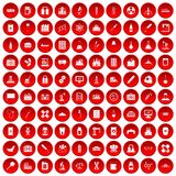 100 chemical industry icons set red. 100 chemical industry icons set in red circle isolated on white vectr illustration Royalty Free Stock Photo