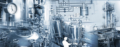 Chemical Industry and Pharmaceutical Industry. Production equipment an facilitie of chemical and pharmaceutical industries Royalty Free Stock Image