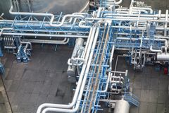 Chemical Industry. Pipes and takes to produce chemicals Stock Image