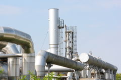 Chemical industry plant. Pipes in a factory of the chemical industry Royalty Free Stock Image