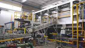 Chemical industry plant with pipes and valves. New metal recycling plant stock video