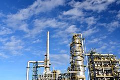 Chemical industry - refinery building for the production of fuels royalty free stock photo