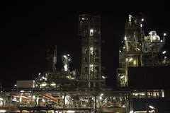 Chemical installation by night Stock Photos
