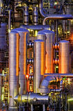 Chemical installation at night. Intimate details of a chemical production facility at night Royalty Free Stock Images