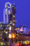 Chemical installation at night. Intimate details of a chemical production facility at night Stock Image