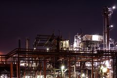 Chemical installation by night Royalty Free Stock Photos