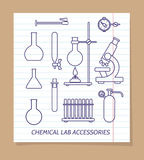 Chemical lab accessories line icons stock illustration