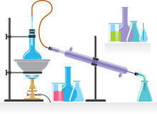 Chemical Lab. Chemical background with chemical experiment process isolated on white Stock Photos