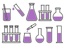 Chemical lab equipment with liquid. Vector illustration royalty free illustration