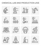 Chemical lab icon. Chemical lab and production line icon set Royalty Free Stock Images