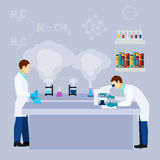 Chemical lab science research flat poster Stock Image