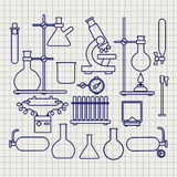 Chemical lab thin line icons set Royalty Free Stock Photography