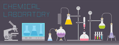 chemical laboratorium stock illustrationer