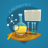 Chemical Laboratory Cartoon Icons Set Royalty Free Stock Image
