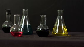 In a chemical laboratory closeup stock video footage