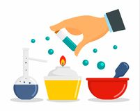 Chemical laboratory concept background, flat style stock illustration
