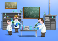 Chemical Laboratory  Concept. With scientists using modern biotechnology vector illustration Stock Images