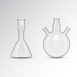 Chemical laboratory 3d lab flask glassware tube liquid biotechnology analysis and medical scientific equipment vector Royalty Free Stock Photos