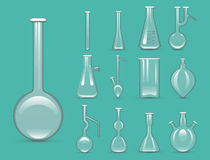 Chemical laboratory 3d lab flask glassware tube liquid biotechnology analysis and medical scientific equipment vector Stock Image