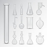 Chemical laboratory 3d lab flask glassware tube liquid biotechnology analysis and medical scientific equipment vector Royalty Free Stock Images