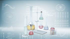 Chemical laboratory equipment. Flasks and test Royalty Free Stock Images