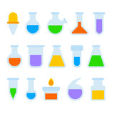 Chemical Laboratory Equipment Icons Set on White Background. Vector Stock Photo