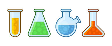 Chemical Laboratory Equipment Icons Set on White Background. Vector Stock Photography