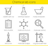 Chemical laboratory equipment linear icons set Royalty Free Stock Images
