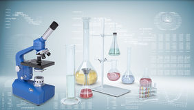 Chemical laboratory equipment. Microscope, flasks Stock Image