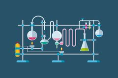Chemical Laboratory Equipment Objects with a. Flat vector illustration of chemical laboratory equipment objects with a series of flasks and beakers various Stock Photography