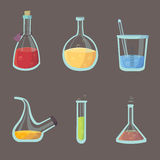 Chemical laboratory equipment objects vector illustration