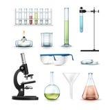 Chemical laboratory equipment. Vector set of chemical laboratory equipment test tubes, flasks with colored liquid, beaker, glasses, petri dish, alcohol burner royalty free illustration