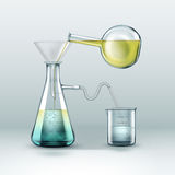 Chemical laboratory experiment. Vector chemical reactions research is done using glass flasks full of yellow blue liquid, funnel and beaker  on background Royalty Free Stock Photo