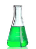 Chemical laboratory flask with green liquid Stock Photography